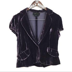 BCBGMaxAzria Short Sleeve Purple Velvet Blazer